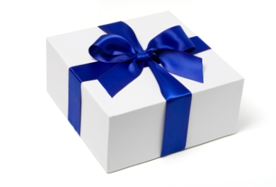 White Gift Box with Blue Satin Bow